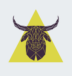 polygonal buffalo head animal vector image