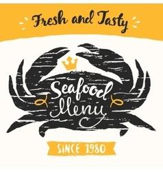 Seafood menu template drawn vector
