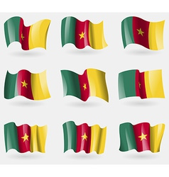 Set of cameroon flags in the air vector image