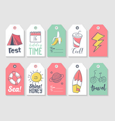 summer beach vacation tags collection vector image vector image
