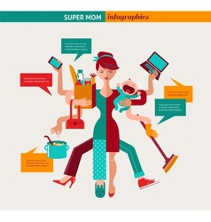 Super Mom - of multitasking mother vector image vector image