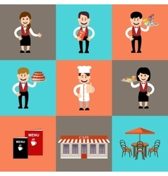 The service personnel in cafe and restaurants vector image vector image