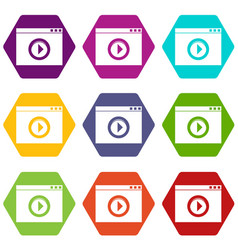 video player icon set color hexahedron vector image