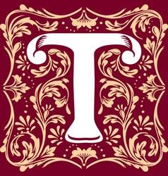 vintage letter T vector image vector image