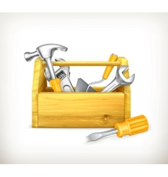 Wooden toolbox vector