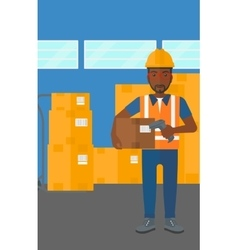Worker checking barcode on box vector image