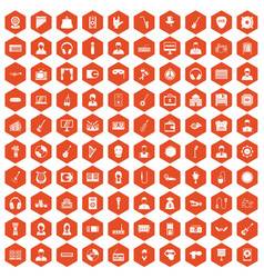 100 music icons hexagon orange vector