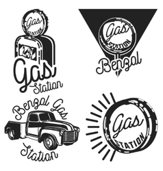 Vintage gas station emblems vector