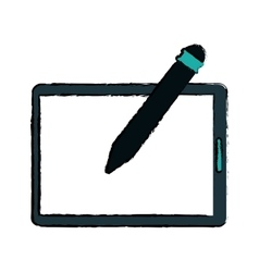 Tablet pen digital technology sketch vector