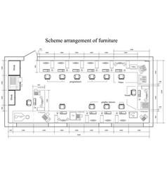 Architectural scheme arrangement of furniture vector