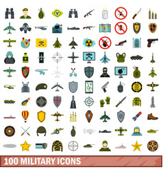 100 military icons set flat style vector