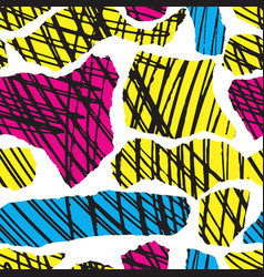 colorful seamless pattern with brush blots vector image