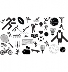 sports figures and equipment vector image