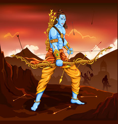 Lord rama with arrow killing ravana vector