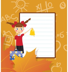 Frame schoolgirl with briefcase and bell vector image