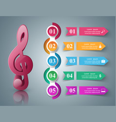 Music infographic treble clef icon note icon vector