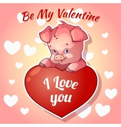 Cute piggy for valentines day vector