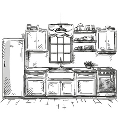 Kitchen interior drawing vector
