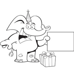Cartoon elephant wearing a party hat with a sign vector