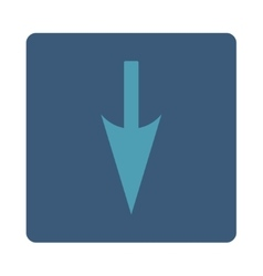 Sharp down arrow flat cyan and blue colors rounded vector