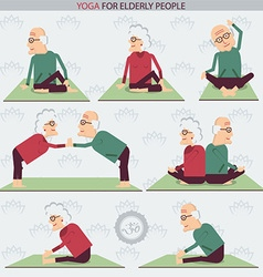 Yoga for elderly people vector
