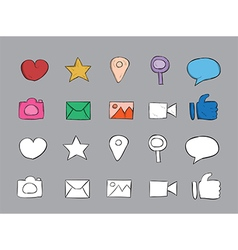 Technology icons color drawing by hand vector