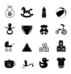 Baby simple icon set vector