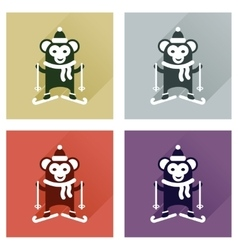 Concept of flat icons with long shadow monkey vector image