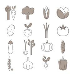 Simple Vegetable Set Handdrawn vector image