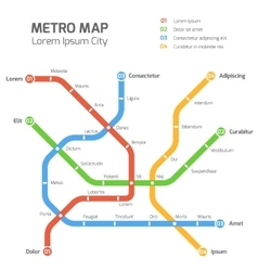 Subway map template City metro vector image