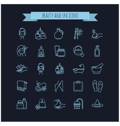 Spa and Beauty thin line icons set vector image