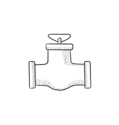 Gas pipe valve sketch icon vector