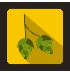 Branch of hops icon in flat style vector