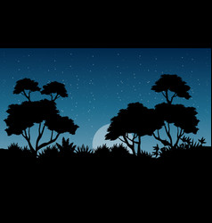 At the night jungle scenery with tree silhouette vector