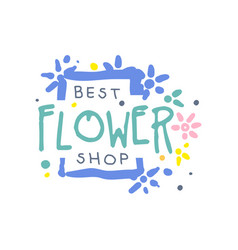 best flower shop logo template element for floral vector image vector image