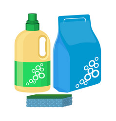 Bleach bottle with sponge package of washing vector