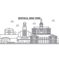Buffalo new york architecture line skyline vector
