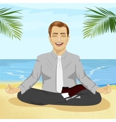 Businessman doing yoga on tropical beach vector