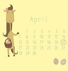 Calendar for April 2014 vector image