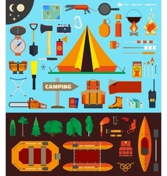 Camping equipment and tools vector image vector image