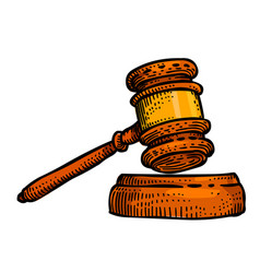 Cartoon image of law icon judge gavel symbol vector