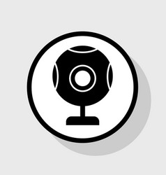 Chat web camera sign flat black icon in vector