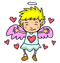 Cupid with yellow hair on love backgrounds vector
