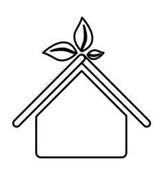 Figure sticker house with leaves above the roof vector