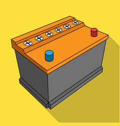 For automobile batterycar single icon in flat vector