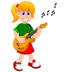 Funny girl cartoon playing guitar vector