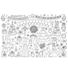 Girl birthday doodle set vector