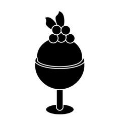 glass cup ice cream cherry pictogram vector image