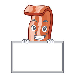 Grinning with board bacon character cartoon style vector