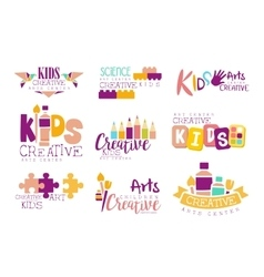 Kids creative and science class template vector